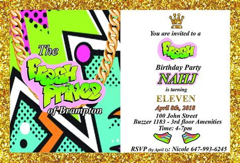 Fresh Prince Invitations Prince birthday party