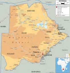 Botswana Map - Physical Map of Botswana Botswana