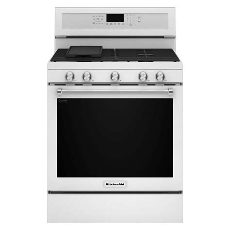 cuisiniere induction et gaz kitchenaid cuisini 232 re au gaz 224 convection et 5 br 251 leurs de 30 po blanc kfgg500ewh home