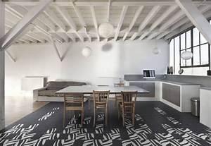 Carreaux De Ciment Noir Et Blanc : carrelage cuisine noir et blanc decor carrelage sol ~ Dailycaller-alerts.com Idées de Décoration