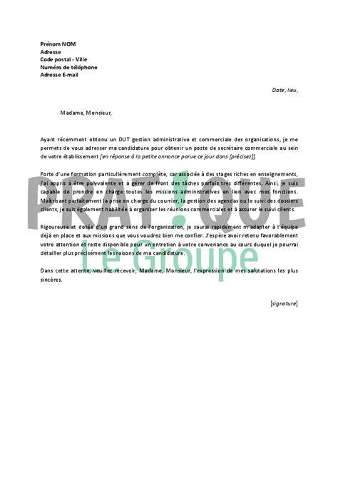 lettre de motivation secretaire debutant lettre de motivation pour un emploi de secr 233 taire commerciale d 233 butant pratique fr