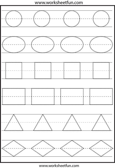 this shape tracing worksheet is appropriate for two and