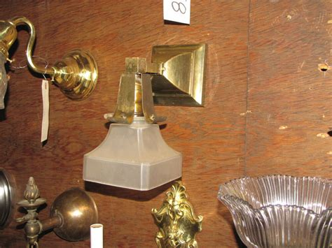 antique brass mission style wall sconce with shade 6045 ebay