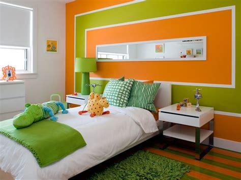 Orange & Green Boy's Bedroom Design With Orange & Green