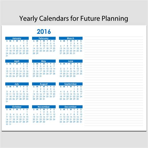 planning sheets yearly calendar