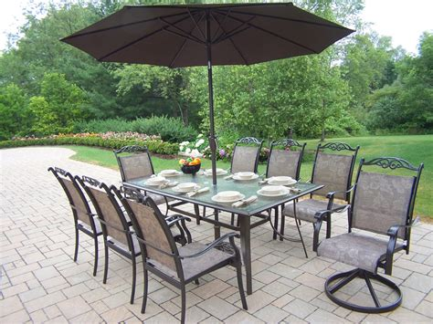 oakland living aluminum 11 pc patio dining set