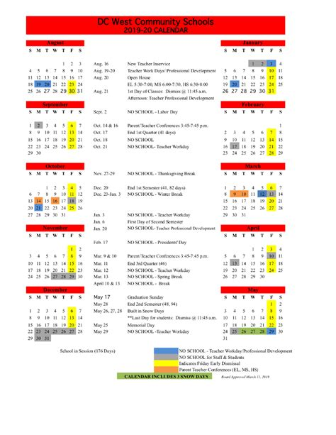 dc west community schools district calendar