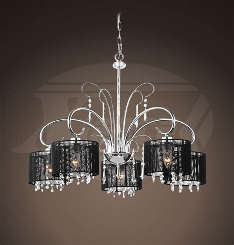 Chandelier With Black Shade And Drops by Aegean Black Shade 5 Light Chrome Chandelier 25 5 Quot Wx64 Quot H