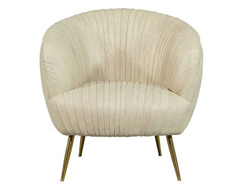 Pair Of Cream Paneled Leather Accent Chairs For Sale At