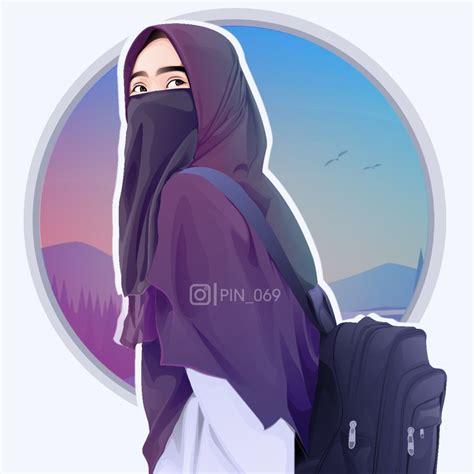 hijab niqob vector   gadis animasi kartun gambar anime