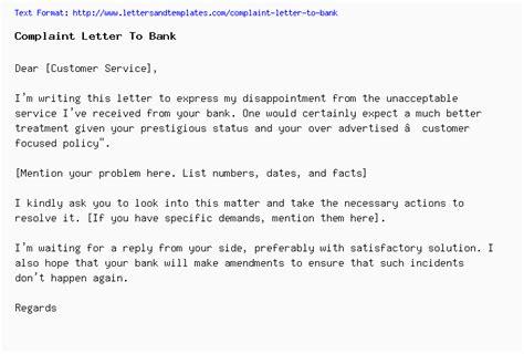 complaint letter  bank