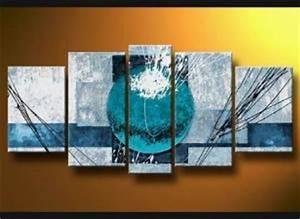 Tableau Plusieurs Panneaux : tableaux abstrait design bleu triptyque eva ~ Teatrodelosmanantiales.com Idées de Décoration