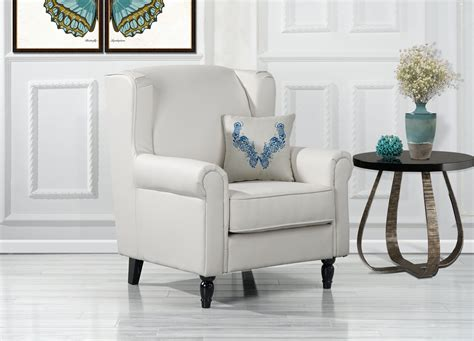 classic scroll arm faux leather accent chair living room