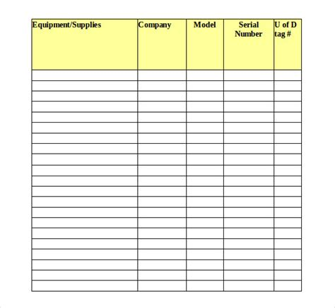 tool inventory template   word excel
