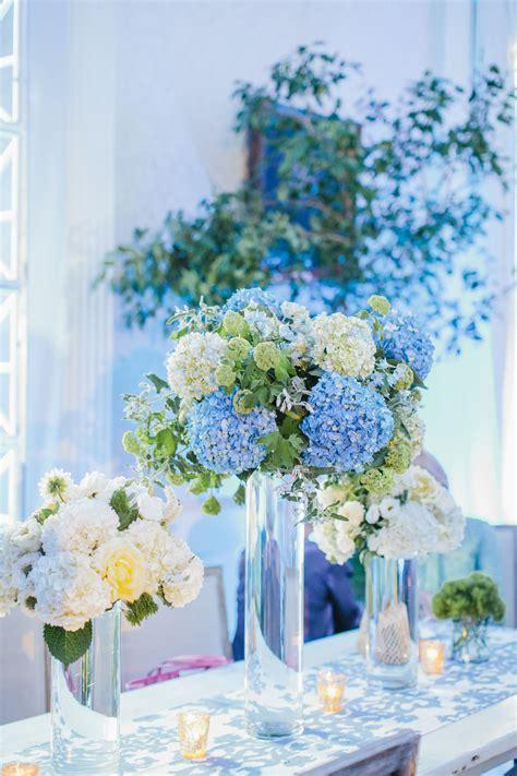tall blue  white hydrangea centerpieces    love