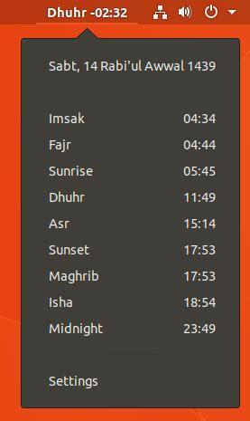 azan islamic prayer times gnome shell extensions
