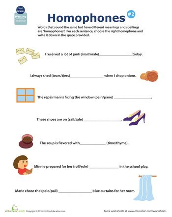 homophones worksheet  grade newatvsinfo