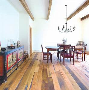 rustic dining rooms room with reclaimed wood flooring