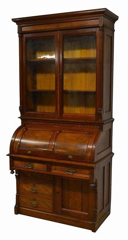 Desk Secretary Roll Antique Cylinder 1800 Bookcase