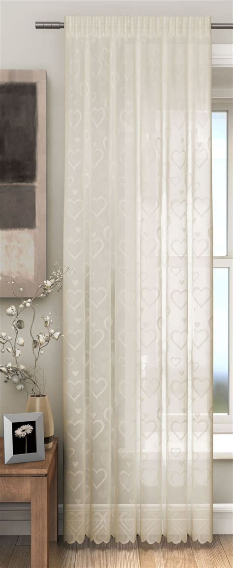 hearts lace slot top sheer voile rod pocket window