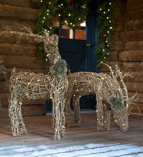 outdoor reindeer decorations lighted rattan reindeer are and rustic and