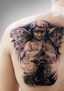 Amazing black-and-white praying cherub with a girl tattoo ...