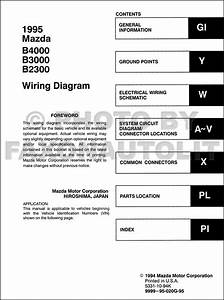 1995 Mazda B4000 B3000 B2300 Pickup Truck Wiring Diagram Manual Original