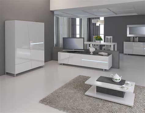 meuble tv blanc laque avec eclairage  led integre design