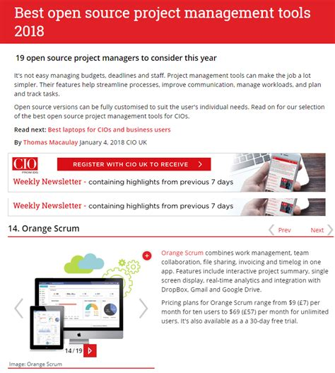 orangescrum ranked in top 7 open source project management tools again