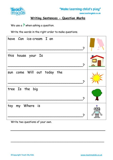 writing sentences question marks tmk education
