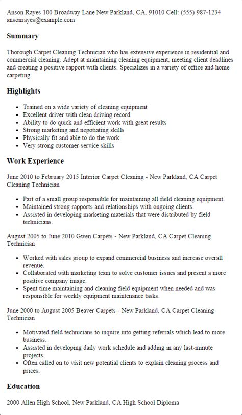 General House Cleaning Resume by Professional Carpet Cleaning Technician Templates To
