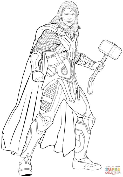 Avengers Thor Coloring Page Free Printable Coloring Pages