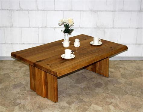 Couchtisch 90x45x90cm, Baumkante, Holzfüße, Wildeiche