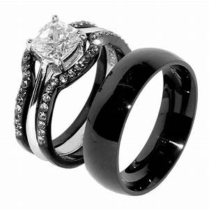 His Hers 4 PCS Black IP Stainless Steel Wedding Ring Set