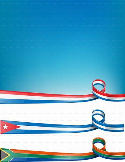 Ribbon Flag Cuba Background Africa South