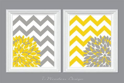 Yellow And Gray Chevron Bathroom Sets by Flower Bursts With Chevron Zig Zags Modern Home Wall