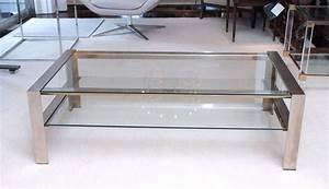 handsome coffee table in brushed stainless steel at 1stdibs With brushed steel coffee table