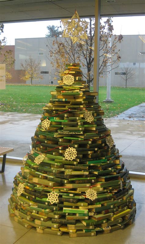 book christmas tree displays for small academic libraries