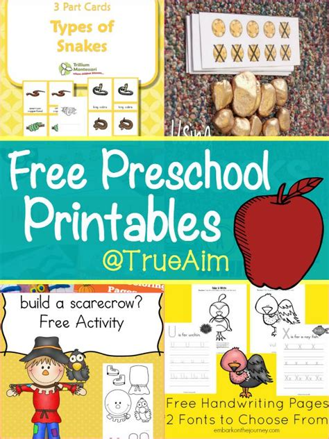 free preschool printables and s library 154 true aim 145 | Free Preschool Printables