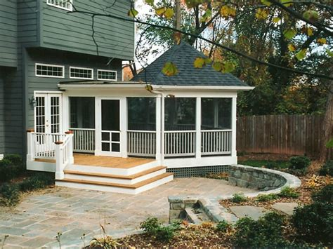 screened porch stairs  stone patio contemporary
