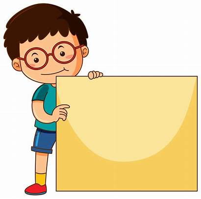 Holding Boy Board Blank Clipart Sign Child