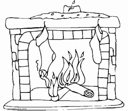 Coloring Stockings Fireplace Chimeneas Colorear Dibujos Fire