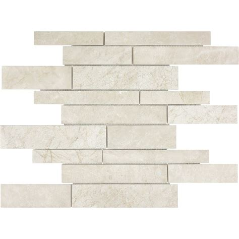 Lowes Canada Bathroom Tiles by Shop Crema Marble Mosaic Wall Tile
