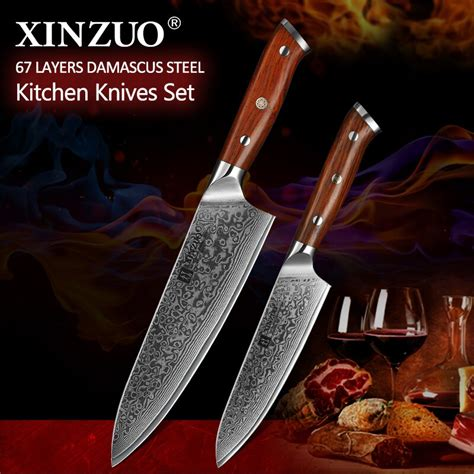 kitchen knife knives chef damascus steel japan sets quality 2pcs vg10 xinzuo rosewood utility handle