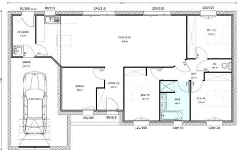 plan maison 3 chambres 1 bureau plan maison plain pied 3 chambres 1 bureau plan maison