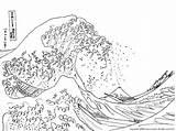 Wave Coloring Tsunami Template Waves Colouring Ocean Kanagawa sketch template
