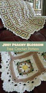 Just Peachy Blossom Square For Blankets  Crochet Free Pattern