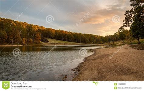 sunset   stream   ozarks mountains  missouri