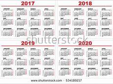 Set Grid Wall Calendar 2017 2018 Stock Vector 534189217