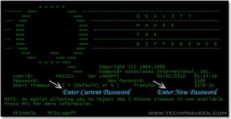 How To Change Ibm Mainframe Tn3270 Password?